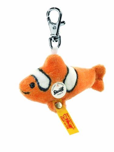 Steiff Keyring Flossy Clownfish, Orange/White Plush Animal