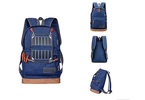 ZHANGQIAN Outdoor Black Solar Solar Backpack Blue Charging USB Sports Backpack Gray qrHBqE