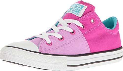 Converse Kid's Chuck Taylor All Star Madison Ox Fashion Sneaker Shoe - Fuchsia/Magenta/White - Girls - (Pink Plaid Canvas Kids Shoes)