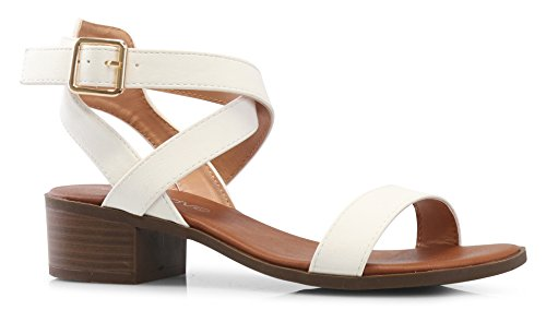 (LUSTHAVE Women's Front Strap Ankle Wrap Adjustable Buckle Stacked Chunky Heel Gladiator Summer Dress Sandal White 10)