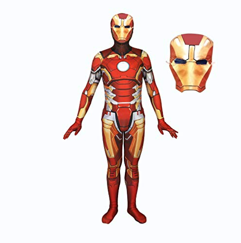 (DSFGHE 3D Printed Adult Iron Man Costume Cosplay One-Piece Tights Halloween Holiday Party Costume with)