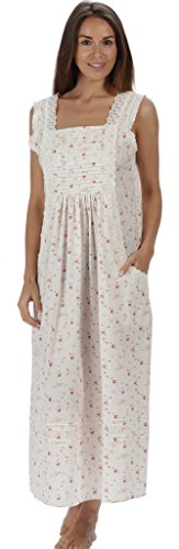 The 1 for U 100% Cotton Long Nightgown with Pockets XS-3X Rebecca (XS, Vintage Rose)