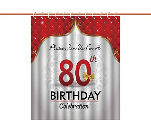 iPrint Mildew Resistant Shower Curtain [ 80th Birthday Decorations,Birthday Party Invitation with Abstract Flora Backdrop,Red Silver and Golden ] Decorative Shower Curtain Ideas ()