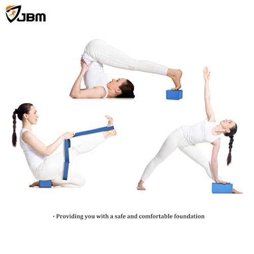 JBM international JBM Yoga Block plus strap with Metal D-Ring Yoga Brick Cork Yoga Block 6 colors - High Density EVA Foam Yoga Block to Support and Deepen Poses, Lightweight, Odor-Resistant