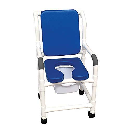 MJM International 118-3TW-SSDE-CBP-SQ-PAIL-BL Standard Shower Chair with Soft Seat, Cushion Padded Back and Commode Pail, 300 oz Capacity, 40.5