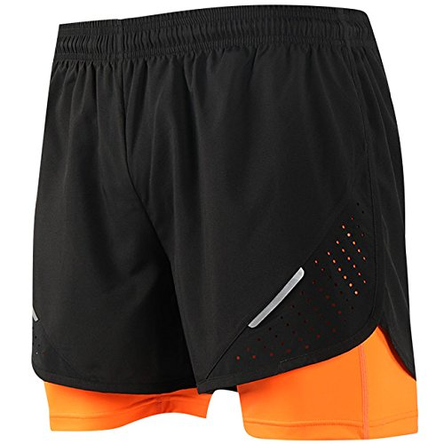 PAIZH Mens Running Shorts, 2 in 1 Training Woven Shorts with Compression Lining (Orange-XL/M)