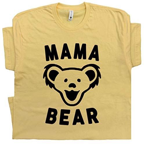 S - Mama Bear T Shirt Cool Vintage 70s 80s Jam Classic Rock Band Gift for Mom to Be Grateful Hippie Best Mother Mommy White