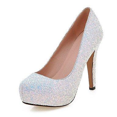 Talones de las mujeres Zapatos Primavera Verano Otoño Invierno Club de boda sintético Fiesta y vestido de noche de lentejuelas de tacón de aguja Negro Blanco Rosa White
