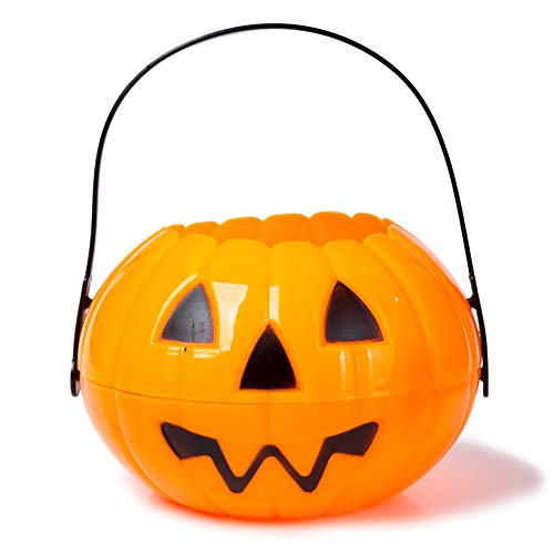 Large Halloween Pumpkin 7 Inch Jack O Lantern Trick or Treat Bucket Orange Kids Candy Bin Party Supplies Decoration Costume Accessories ()