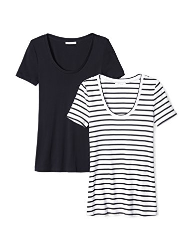 (Amazon Brand - Daily Ritual Women's Midweight 100% Supima Cotton Rib Knit Short-Sleeve Scoop Neck T-Shirt, 2-Pack, Navy-White Stripe/Navy, X-Large)