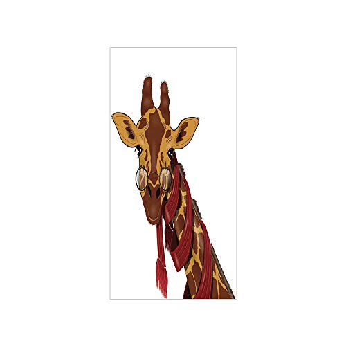 3D Decorative Film Privacy Window Film No Glue,Cartoon,Illustration of Giraffe Wearing Glasses in a Red Scarf Smart Looking Fun Art,Redwood Marigold,for Home&Office (Redwood Greenhouse)