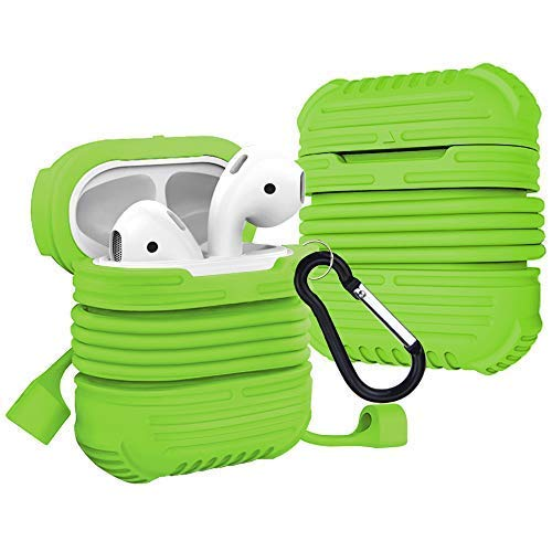 Rugged Airpods Protective Case Compatible for Apple, Airpods Accessories Silicone Shockproof Charging Airpod Cases Skin with Carabiner Keychain and Anti Lost Strap for Travel Storage - Green