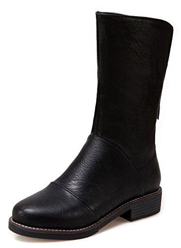 Aisun Womens Simple Confortable Bout Rond Zip Up Habillé Chunky Bas Talon Mi-mollet Bottes Chaussures Avec Fermeture À Glissière Noir