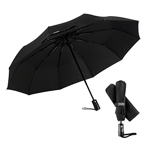 Third Floor Umbrellas Compact Lightweight 46 Inch Automatic Open and Close 210T Teflon 10-Panel Folding Sturdy Travel Windproof Umbrella with Safe Lock Shaft, Black