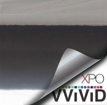 VViViD Standard Gloss Chrome Black Vinyl Wrap Adhesive Film 6 x 60 Roll Air Release DIY Decal Sheet