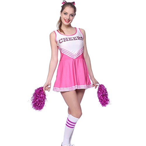 [VARSITY COLLEGE SPORTS CHEERLEADER UNIFORM COSTUME OUTFIT pink S us 2 4] (Adult Cheerleader Outfits)
