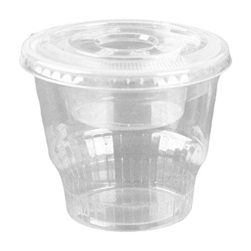 12oz Clear Plastic Dessert Cups with 4oz Parfait Insert & Lids, 3-piece (50 Count, Flat Lid - No Hole)