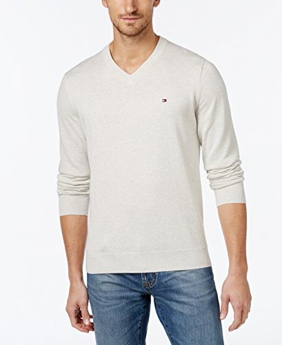 Tommy Hilfiger Mens Premium Cotton V-Neck Sweater - XL - Ice Grey Heather by Tommy Hilfiger