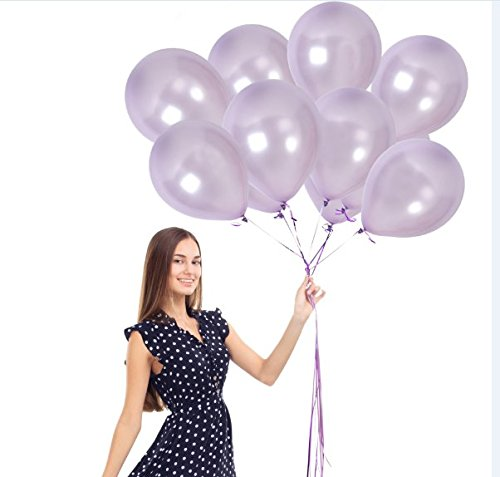 Treasures Gifted Pearl Purple Lavender Balloons Pack of 36 Pieces + Ribbons Plum Metallic Latex Decorations for Theme Bridal Shower or First Mermaid Birthday Party Supplies