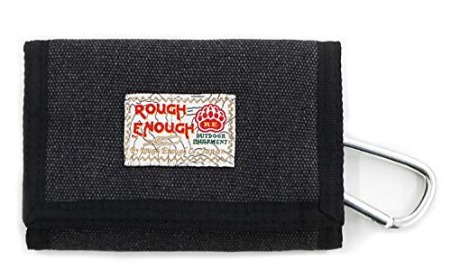 Rough Enough Small Minimalist Men Women Canvas Card Front Pocket Wallet Cases Holder Coin Purse Organizer Bag with Zipper Pockets for Boy Girl Kids Adult School Outdoor Sport Casual ()