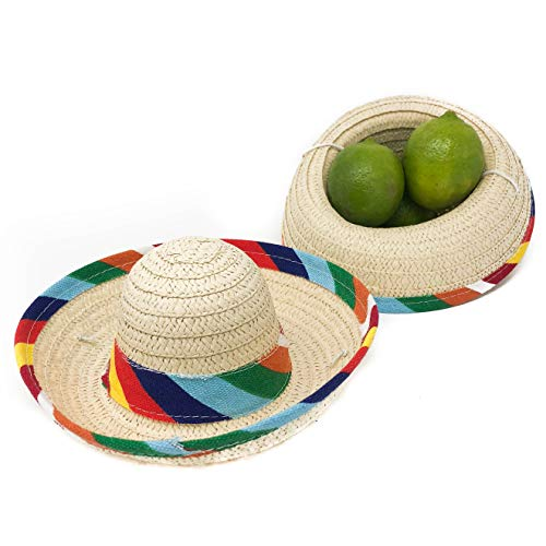 12 Mini Sombrero Fiesta Party Supplies - Mexican Themed Party Decorations (1 -