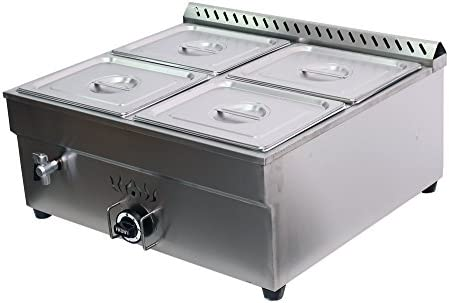 Commercial Food Steam Table 12 Pans Bain Marie Food Warmer with Glass Shield