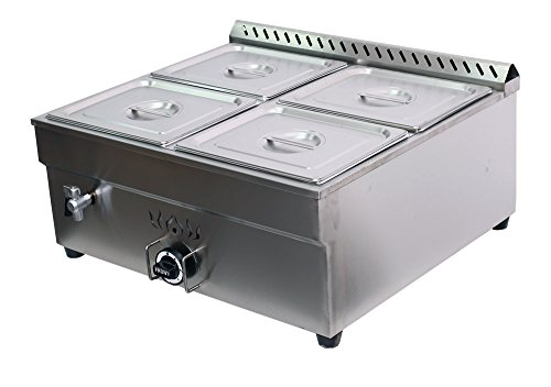 - INTBUYING Propane Gas 4-Compartment Commercial Restaurant Cafe Catering Bain-marie Buffet Sause Tabletop Desktop Countertop Food Warmer Steam Table