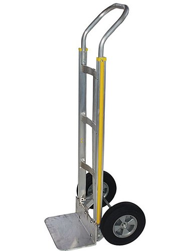Milwaukee Hand Trucks 45103 Aluminum Flow Back Handle Truck with Square Frame and 10-Inch Puncture Proof Tires