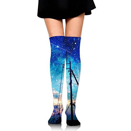 Staggered Blue Sky Over The Knee Long Socks Tube Thigh-High Sock Stockings For Girls & Womens -
