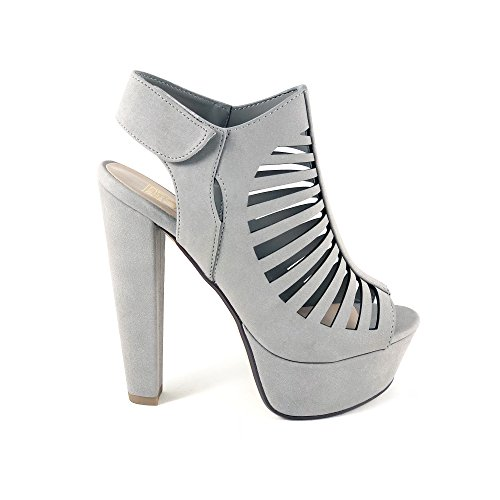 - Speed Limit 98 Manji Women's Peep Toe Slingback Cutout Platform Chunky Heel Sandals (8.5 B(M) US, Lite Grey)