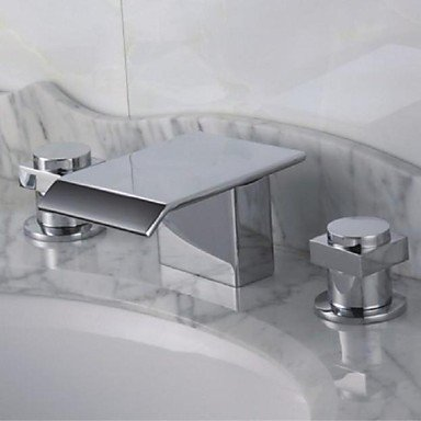 Contemporary Three Holes Chrome Finish Waterfall Bathroom Tub Faucet