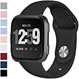 Hamile Bands Compatible for Fitbit Versa & Fitbit Versa Lite Edition, Easy to Clean Soft Silicone Watch Band for Fitbit Versa, Fitbit Versa Special and Lite Edition, for Women Men Large Small