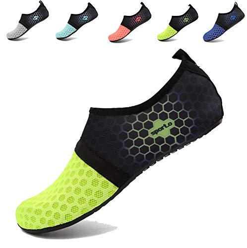 AoSiFu Women's Men's Summer Aqua Beach Sneakers Slip-On Athletic Water Shoes for Outdoor US 9-10 Women, 8-8.5 Men L-Green 40-41