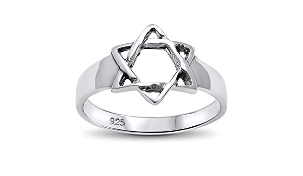Princess Kylie 925 Sterling Silver Plain Star of David Ring