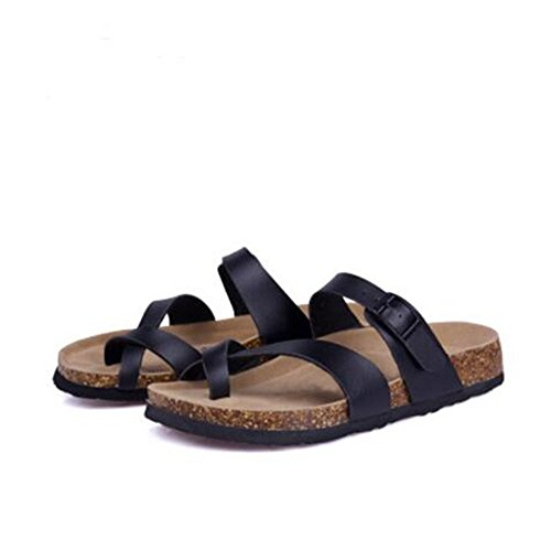 Flop Sandals Toe Flat Strappy Flip Cork Open Slide Comfort YaMiFan 21 Women's Summer HqgwXpEPn