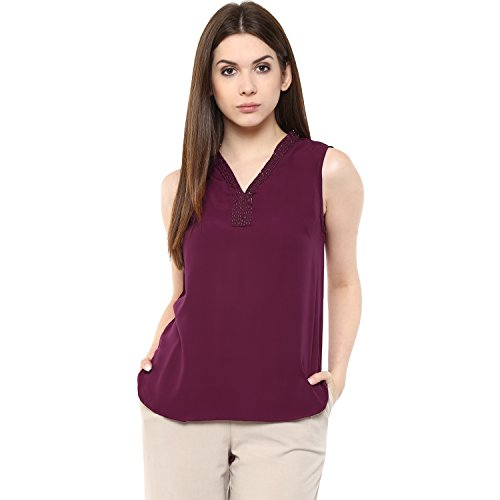 mayra Women #39;s Polyster Crepe Maroon Color Sleeveless Top
