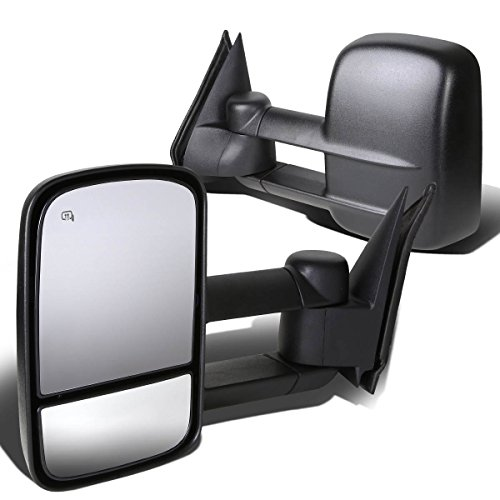 For Chevy Silverado/GMC Sierra GMT800 Pair of Powered + Heated Manual Extended Arm Towing Side Mirrors (Black)