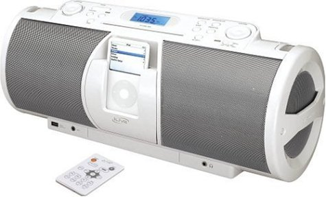 - iLive Portable 2.1-Channel CD Boombox with Docking Station for iPod (White)