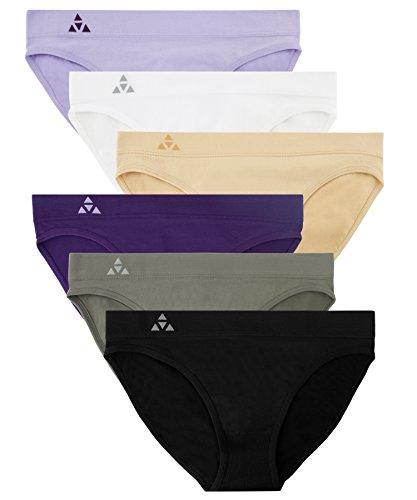 Balanced Tech Women's 6 Pack Seamless Low-Rise Bikini Panties - Classic Essentials - X-Large