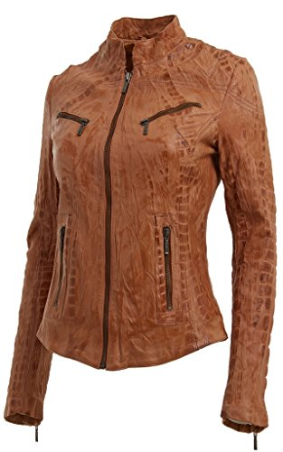 Ladies Real Leather Tan Croc Fitted Bikers Brando Vintage Style Jacket 8