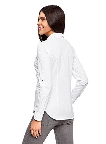oodji Ultra Mujer Camisa Básica con Bolsillos en el Pecho Blanco (1000N)