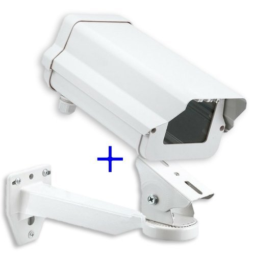 "11 Inch Security Camera Housing Enclosure & 10"" Arm Bracket for Outdoor CCTV Brick Style Surveillance Camera"