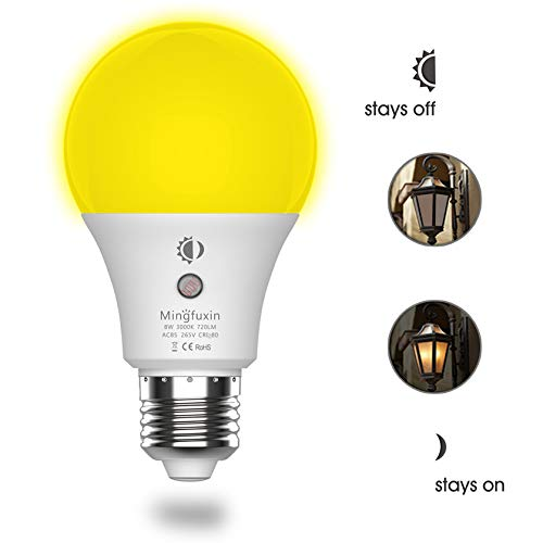 Dusk to Dawn Light Bulb 8W Auto On/Off Led Light Bulbs[Built-in Light Sensor][No Stroboscopic Effect] A19 E26 Base Security Lamp for Corridor Garden Garage Yard Porch Patio (3000K Warm White)