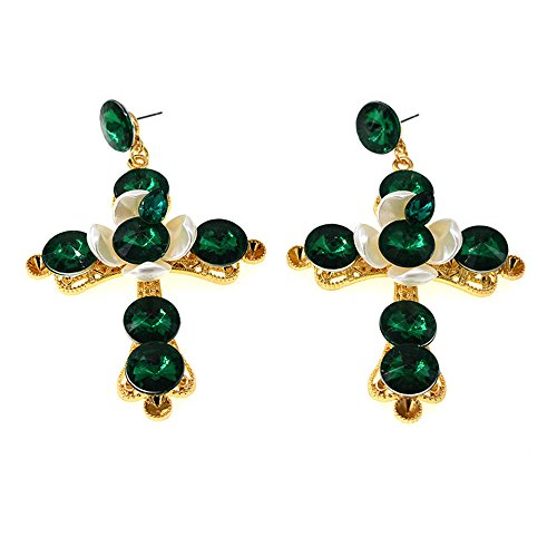 (JG.Betty Vintage Royal Palace Crystal Catwalk Cross Earrings Nightclub Earrings Wild Show Earrings in Various (Green Pearl Crystal Cross Earrings))