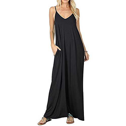 Casual Loose Pocket Long Dress Strappy V Neck Flare Maxi Dresses Black L