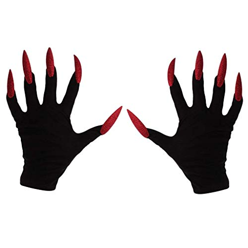 Halloween Gloves Scary Long Fingernails Gloves Hollowen Cosplay Props Hand Sleeves -