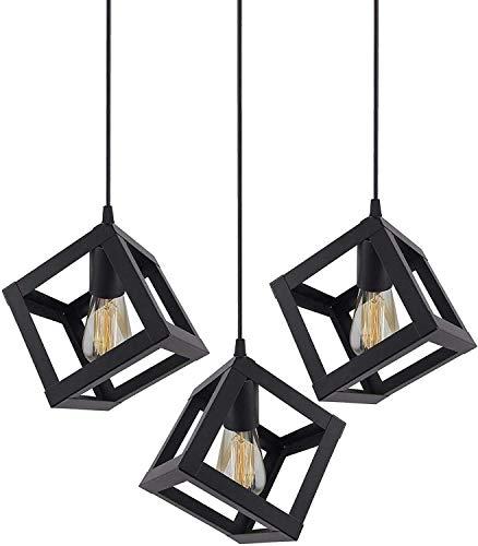 SL Light Square Cube Hanging Decorative Ceiling Light (Black) – Pack of 3