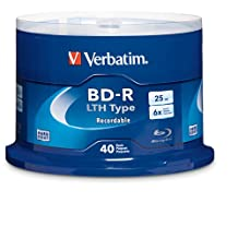 Verbatim 25GB 6x Blu-ray Single-Layer Recordable Disc BD-R LTH Low to High, 40 Disc Spindle FFP 97707