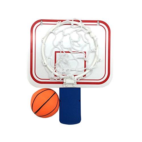 Linkin Sport Office Basketball Hoop Clip Trash Can Basketball Game Small Basketball Board Clip Waste Basket in Restroom Bed Room Bathroom Office (White/Blue, 6.3