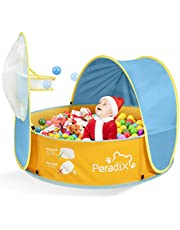 Peradix Kids Ball Pit Play Tent / Paddling Pool for Kids 2 in 1 , Toddler Pop Up Tent with Basketball Hoop and Zippered Storage Bag for Baby/Children Indoor / Outdoor/Garden